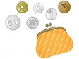 がま口財布と小銭・お金のイラスト