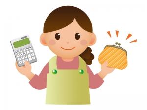 お金を節約する主婦とお財布のイラスト