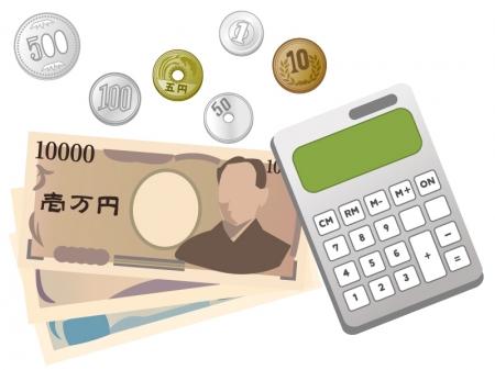 電卓とお金(紙幣・硬貨)のイラスト