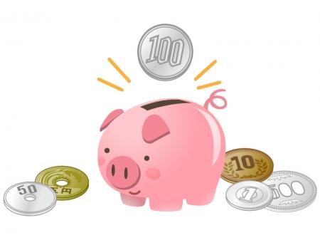 ブタの貯金箱と硬貨・お金のイラスト