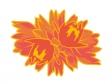 二輪重なって咲いているダリアのイラスト