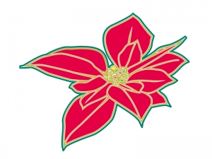 クリスマス風カラーのポインセチアの花びらのイラスト