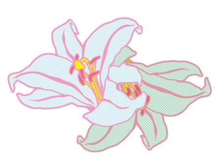 チェック模様に加工したユリの花のイラスト