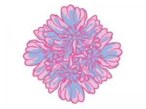 たくさんのレンゲソウ(蓮華草)の花びらのイラスト