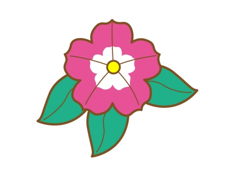 鮮やかなピンク色のペチュニアのイラスト