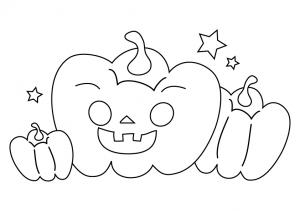かぼちゃ・ハロウィンのぬりえ(線画)イラスト素材