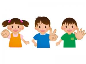 じゃんけんをする子供たちのイラスト