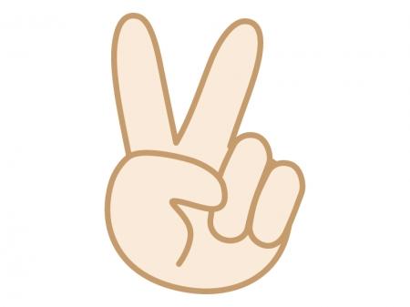 手・2・チョキ・ピース・Vサインをする指のイラスト