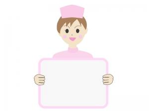 伝言板と女性の看護師さんのイラスト02