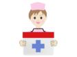 救急箱を持っている女性の看護師さんのイラスト