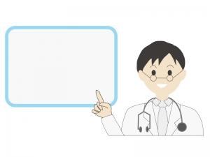 伝言板と若い男性の医師のイラスト02