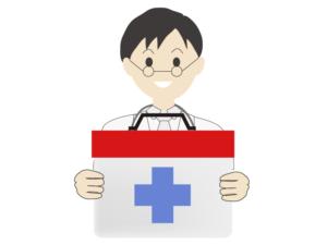 救急箱を持っている男性医師のイラスト