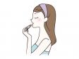 口紅を塗る女性の横顔のイラスト