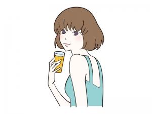 ジュース・ドリンクを飲む女性のイラスト