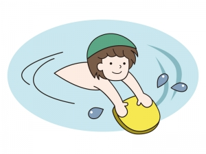 ビート板につかまって泳ぐ少年のイラスト