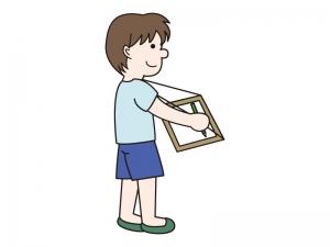 写生をする少年のイラスト