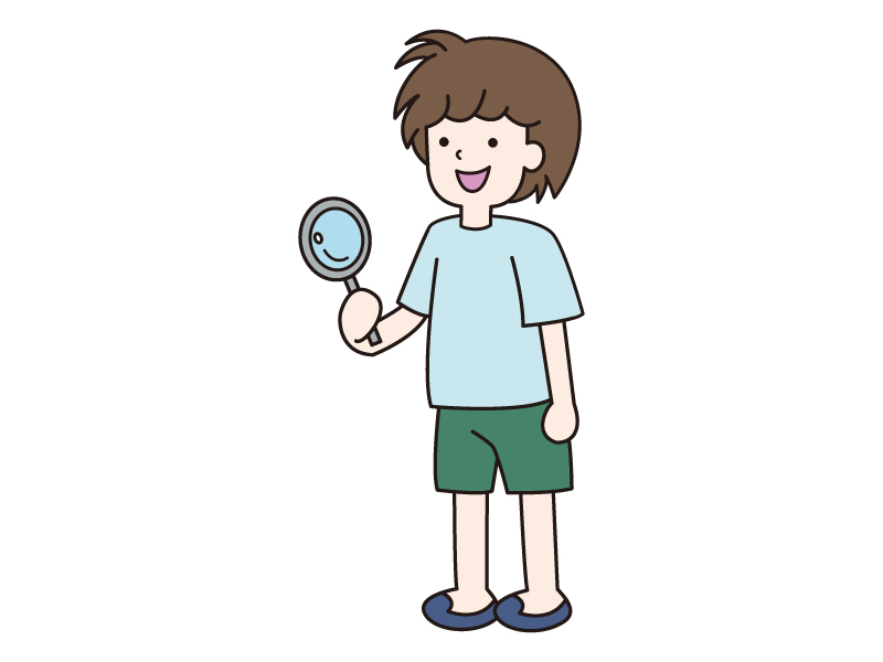 虫眼鏡を持つ少年のイラスト