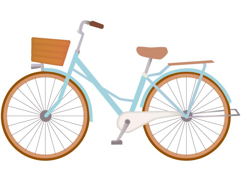 爽やかな水色の自転車のイラスト