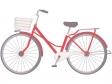 鮮やかな赤色の自転車のイラスト