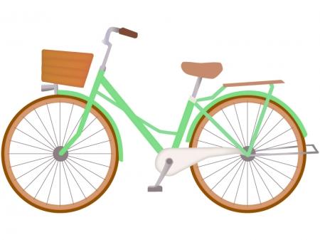鮮やかな緑色の自転車のイラスト