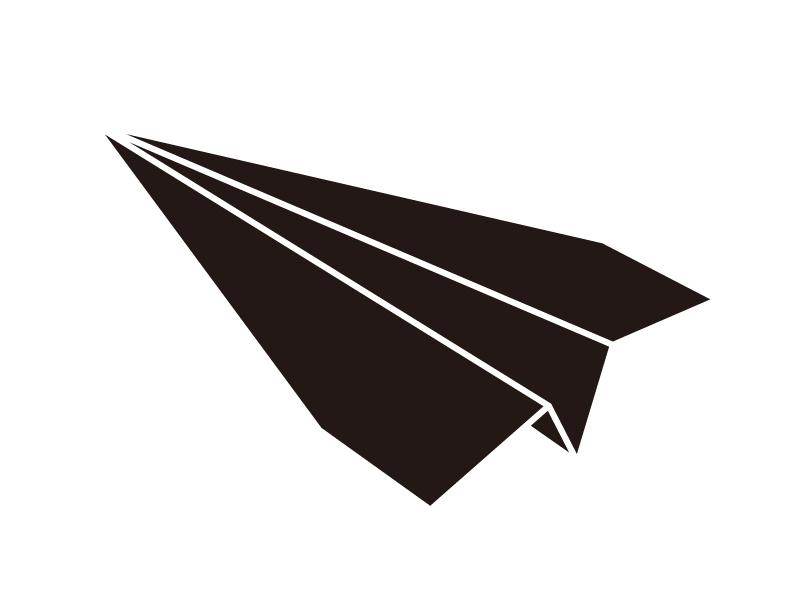 紙飛行機のシルエットのイラスト