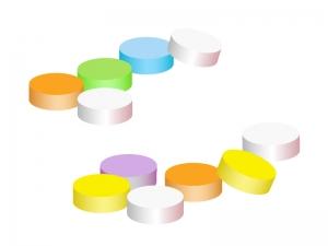 カラフルな錠剤タイプの薬のイラスト