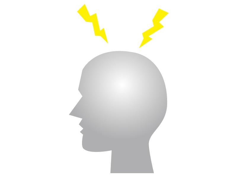 頭痛時のジンジンと痛みをイメージしたイラスト