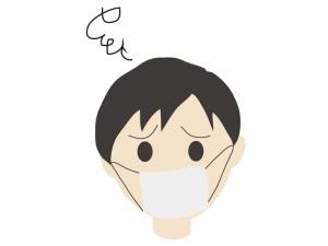 風邪をひいてマスクをしている男性のイラスト