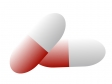 赤と白色のカプセルタイプの薬のイラスト