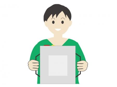 機械で検査を受けている患者さんのイメージイラスト