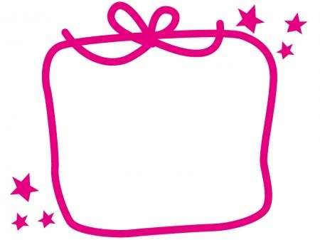 プレゼント(ピンク色)のフレーム・枠素材