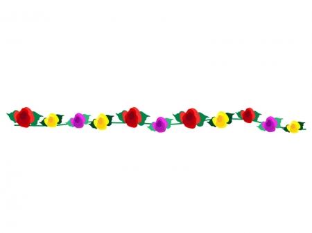3色のバラの線・ラインイラスト