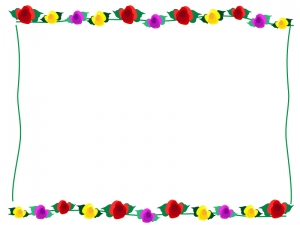 3色のバラのフレーム・枠イラスト