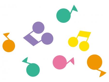 カラフルな音符のイラスト