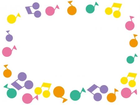 カラフルな音符のフレーム・枠素材