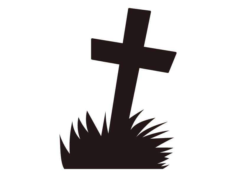 お墓・十字架・ハロウィンのシルエットイラスト