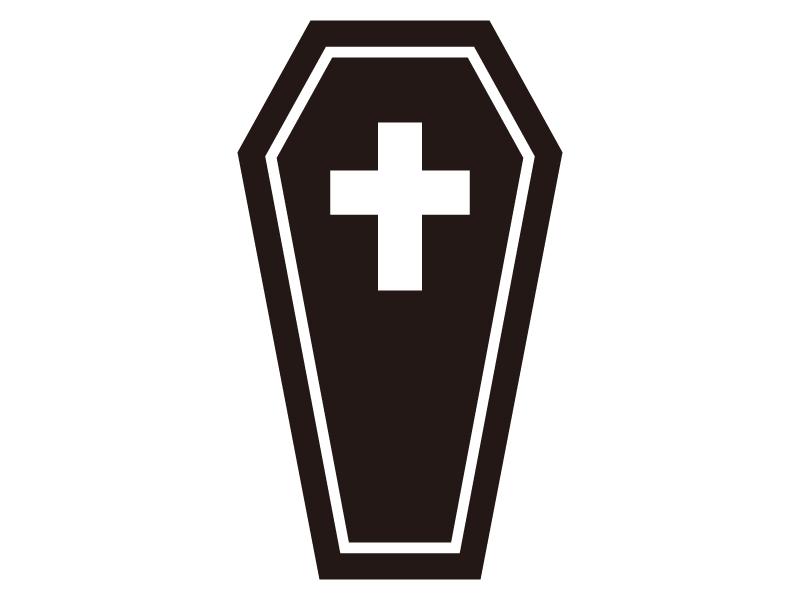 棺桶・お墓・ハロウィンのシルエットイラスト