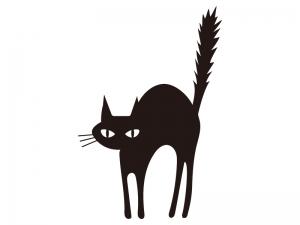 黒猫・ハロウィンのシルエットイラスト