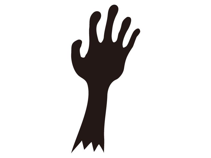 ゾンビの手・ハロウィンのシルエットイラスト
