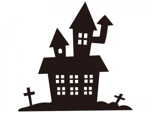 ゴーストハウスと十字架・ハロウィンのシルエットイラスト