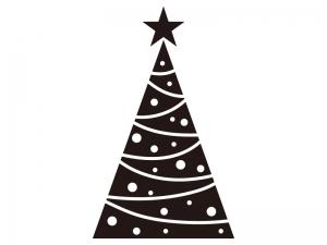 クリスマスツリーのシルエットイラスト