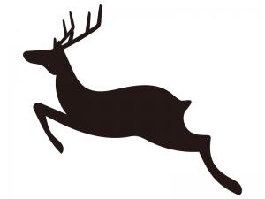 トナカイ・クリスマスのシルエットイラスト