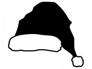 サンタの帽子のシルエットイラスト