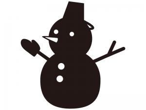 雪だるまのシルエットイラスト