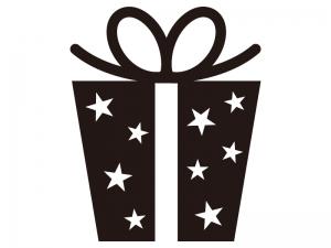星柄のプレゼントのシルエットイラスト