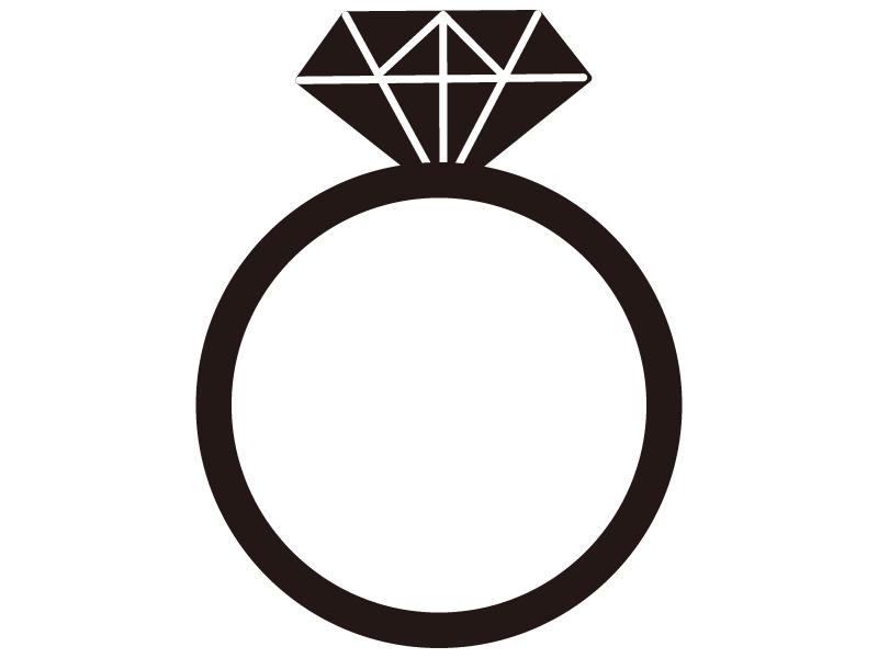 ダイヤモンド指輪のシルエットイラスト