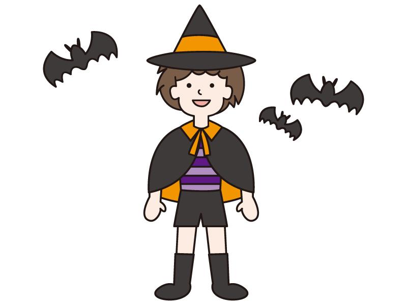 ハロウィンで仮装をする男の子とコウモリのイラスト
