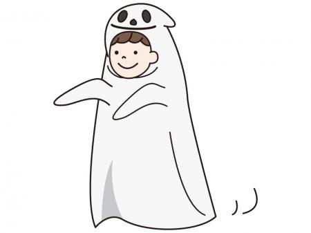 ハロウィンでお化けの仮装をする子供のイラスト