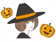 魔女の帽子を被った女性とかぼちゃのハロウィンイラスト