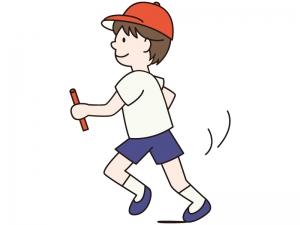 リレーでバトンを持ち走る男の子のイラスト